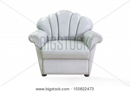 chair on white background. It is located opposite the sofa.