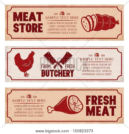Butchery horizontal banners set including poultry meat store and fresh products on texture backgrounds isolated vector illustration