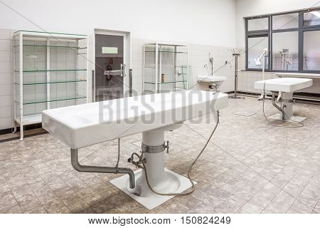 Autopsy antique tables in the morgue in clinic