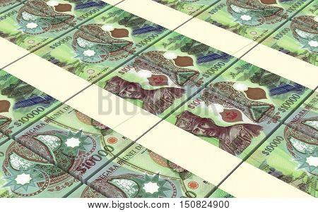 Brunei dollar bills stacks background. 3D illustration.
