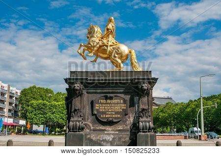DRESDEN GERMANY- JUNE 20 2016: Goldener Reiter the statue of August the Strong