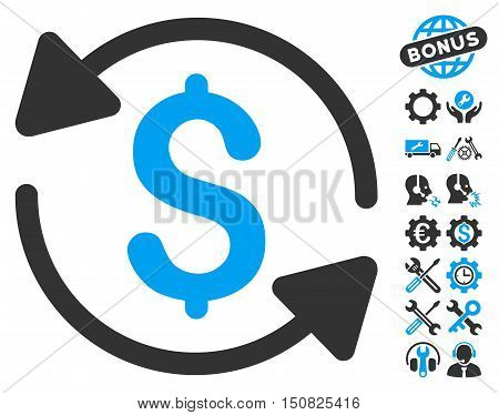 Money Turnover pictograph with bonus tools images. Vector illustration style is flat iconic bicolor symbols, blue and gray colors, white background.