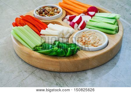 Vegetable Crudites and Dips/ vegetable vegan raw platter, healthy eating. Toning. Selective focus.