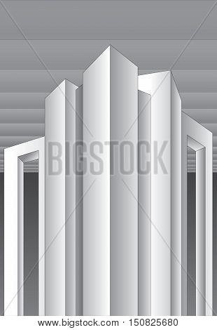 Abstract building, futuristic architecture, unreal building, vector design
