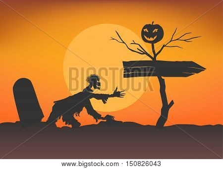 Zombie climbs from tomb towards the pointer and dead tree with smiling pumpkin. Moon background. Halloween template. Stock vector illustration.