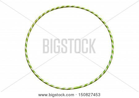 The hula Hoop light green with silver isolated on white background. Versatile exerciser for sports , fitness and ballet. Gymnastics, fitness, diet.
