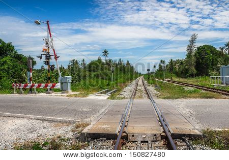 Railroad crossing - An intersection between road and railroad tracks.it's dangerous