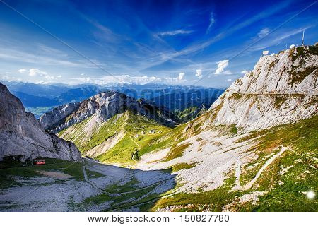 The steepest rack railway on the world in Swiss Alps Pilatus Lucerne