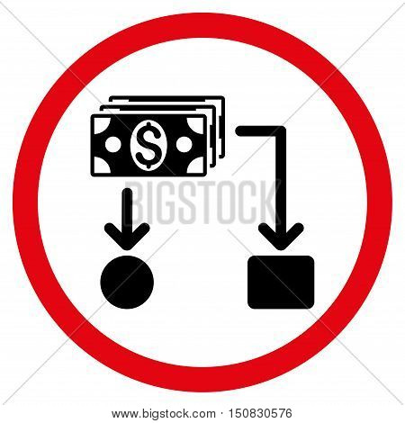 Cashflow vector bicolor rounded icon. Image style is a flat icon symbol inside a circle, intensive red and black colors, white background.
