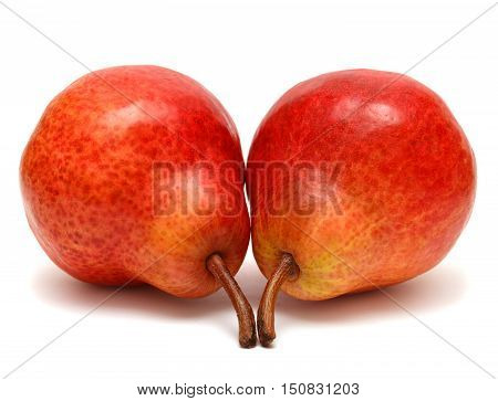 Two red pears isolated on white background