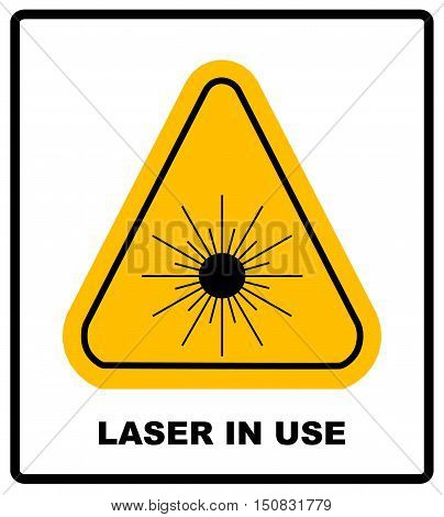 Danger laser radiation Class I symbol in yellow triangle isolated on white with text and sign banner.