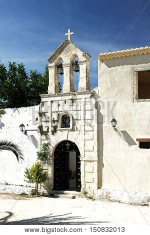 Entrance to the monastery of St. George's on the island of Zakynthos. Greece