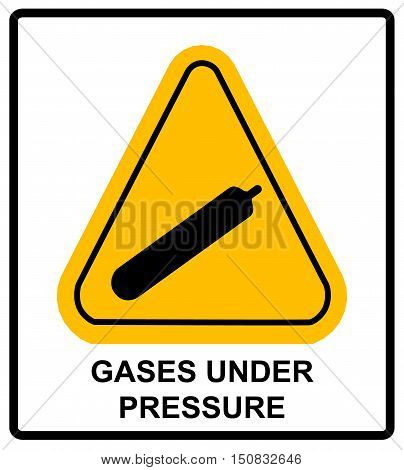Gases under pressure sign. Vector sticker label for public places. Warning symbol in yellow triangle.
