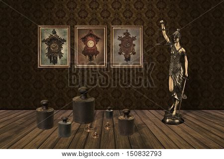 3D illustration shows weights standing below the pictures on which are displayed old clock next to the statue