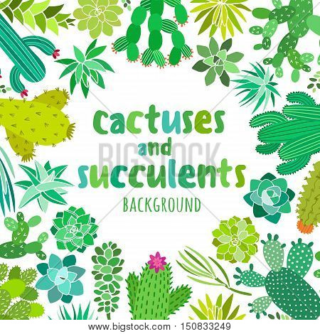 Cactus and succulent vector background. Cactus frame, banner, card, invitation templates