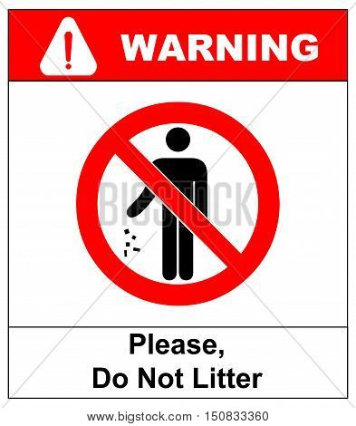 no littering sign vector illustration do not litter prohibition sticker for public places in red circle