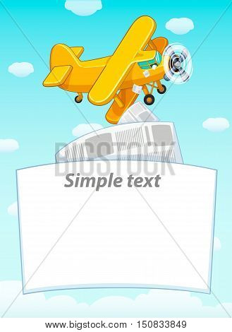 The plane flies in the blue sky with clouds. Scatter leaflets. Cartoon vector illustration. Poster.