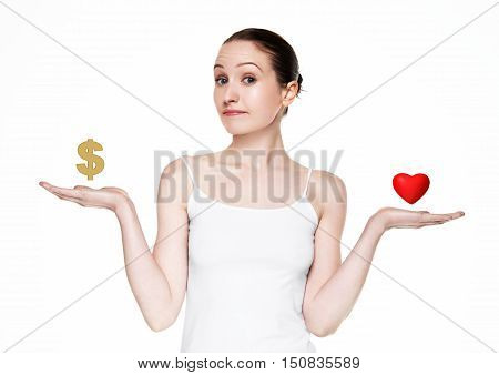 Beautiful women choose between love and money on white background