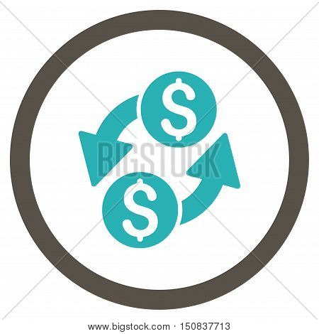 Dollar Exchange vector bicolor rounded icon. Image style is a flat icon symbol inside a circle, grey and cyan colors, white background.