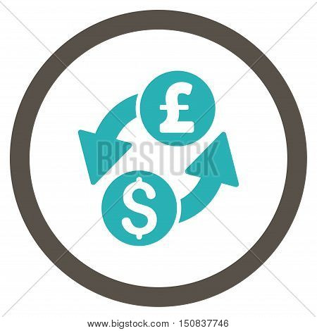 Dollar Pound Exchange vector bicolor rounded icon. Image style is a flat icon symbol inside a circle, grey and cyan colors, white background.