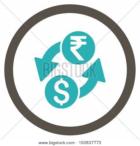 Dollar Rupee Exchange vector bicolor rounded icon. Image style is a flat icon symbol inside a circle, grey and cyan colors, white background.