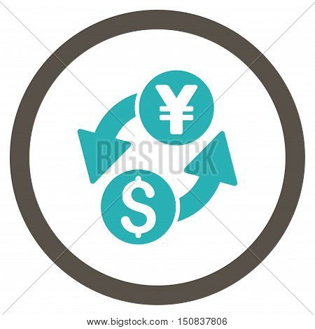 Dollar Yen Exchange vector bicolor rounded icon. Image style is a flat icon symbol inside a circle, grey and cyan colors, white background.