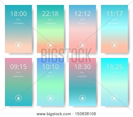 Set of modern user interface ux ui screen wallpapers for mobile smart phone. Mobile Application Interface mobile wallpaper vector illustration