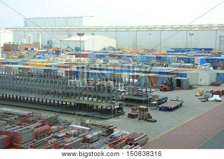 Storage terrain of a big factory heavy industry