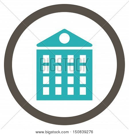 Multi-Storey House vector bicolor rounded icon. Image style is a flat icon symbol inside a circle, grey and cyan colors, white background.