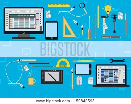 Web design flat vector illustration. A set of design equipment and tools icons