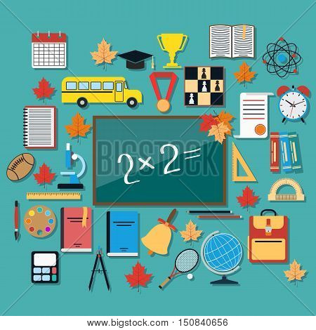 School education flat design style vector illustration