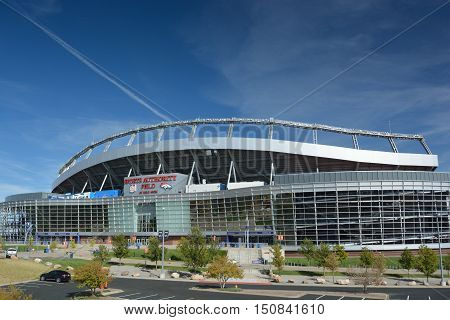 Denver, Co, Usa - October 8. 2016: Sports Authority Field At Mile High Stadium Is The Home Of The De