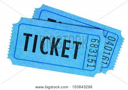 Two Blue Movie Or Raffle Tickets Isolated On A White Background.
