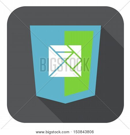 vector web development shield sign html5 javascript lines symbol isolated icon on grey badge with long shadow