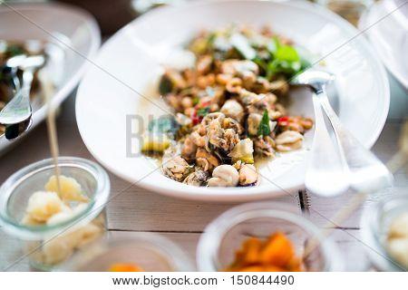 Lunch buffet in a luxury high class food restaurant