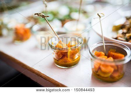 Finger veggie food at luxury restaurant buffet