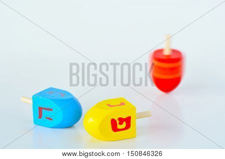 Dreidels (sevivons) During The Jewish Holiday Of Hanukkah