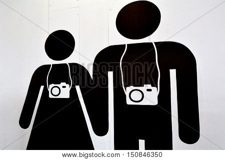 Background of a man and woman couple tourist travel photographers. Travel concept
