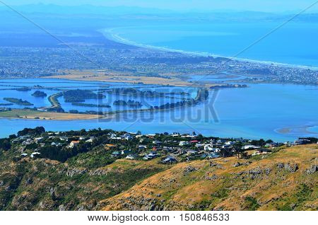 Aerial Landscape View Of Christchurch Canterbury Plains And Pegasus Bay  - New Zealand