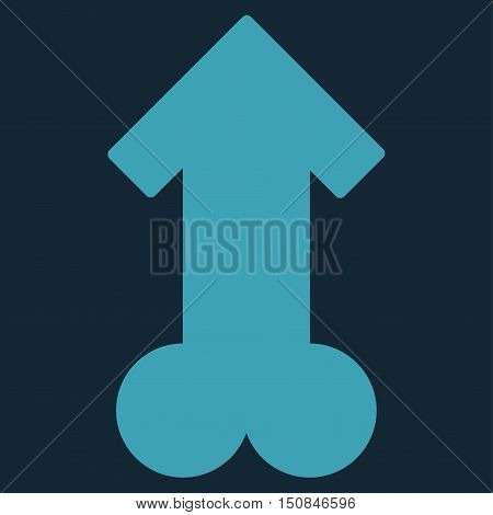 Male Sexual Potence vector icon. Style is flat symbol blue color rounded angles dark blue background.