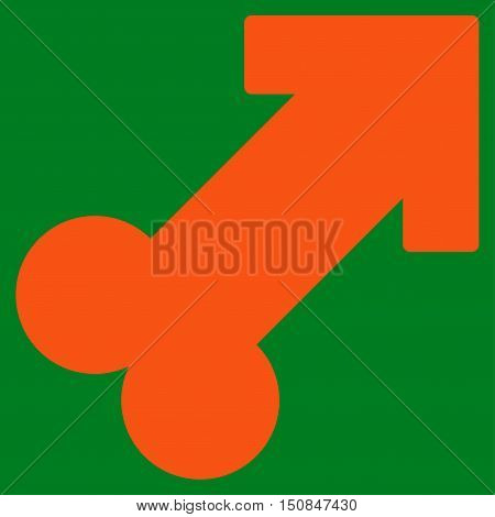 Male Sexual Symbol vector icon. Style is flat symbol orange color rounded angles green background.
