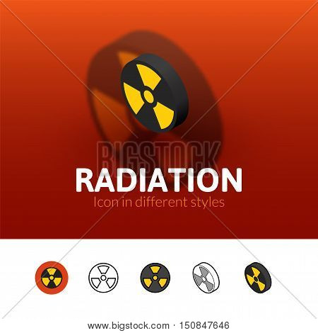 Radiation color icon, vector symbol in flat, outline and isometric style isolated on blur background