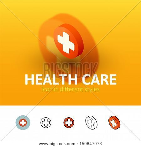 Heath care color icon, vector symbol in flat, outline and isometric style isolated on blur background