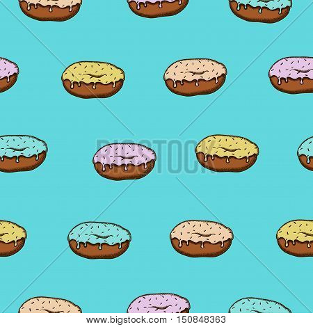 Seamless pattern with colorful donuts with glaze and sprinkles on blue background
