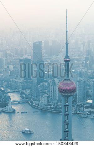 The Oriental Pearl Tower Shanghai city skyline Shanghai China