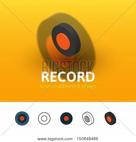 Record color icon, vector symbol in flat, outline and isometric style isolated on blur background