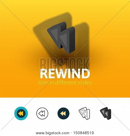 Rewind color icon, vector symbol in flat, outline and isometric style isolated on blur background