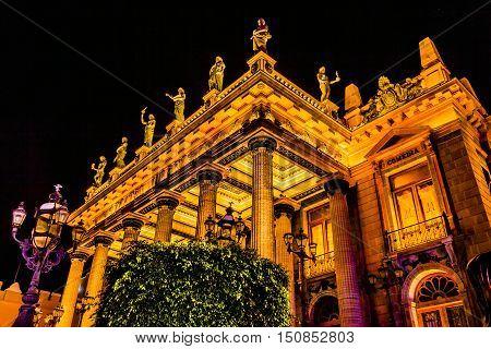 GUANAJUATO, MEXICO - DECEMBER 31, 2014 Juarez Theater Opera House Statues Night Guanajuato Mexico