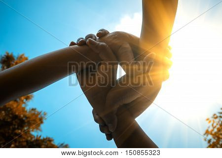 Three hands were a collaboration concept of teamwork with sunbeam and vivid color style