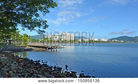 Landscape view of Cairns waterfront skyline in Queensland Australia poster